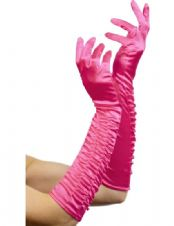 Long Ruched Gloves (Fuchsia)